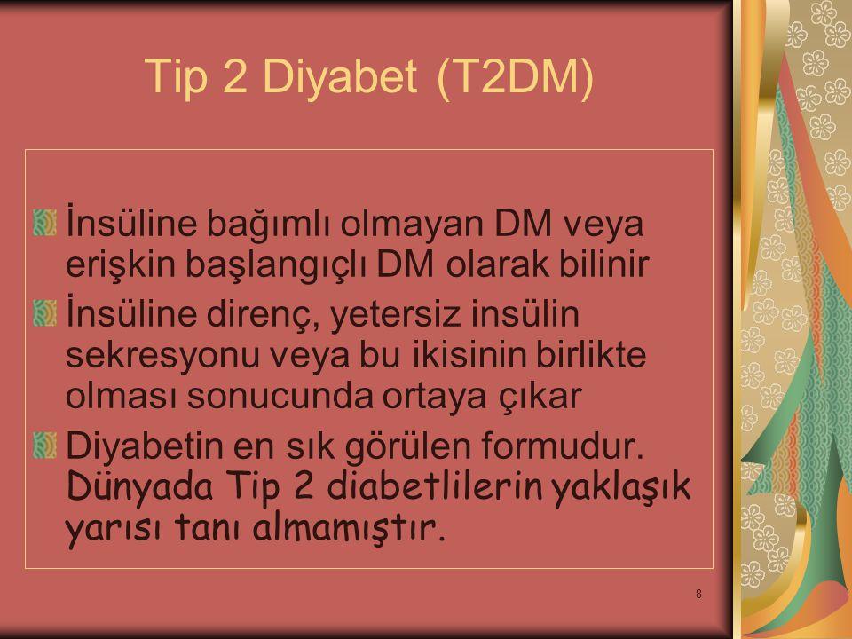 8 Tip 2 Diyabet (T2DM) İnsüline bağımlı olmayan DM veya erişkin başlangıçlı DM olarak bilinir İnsüline direnç, yetersiz insülin sekresyonu veya bu iki