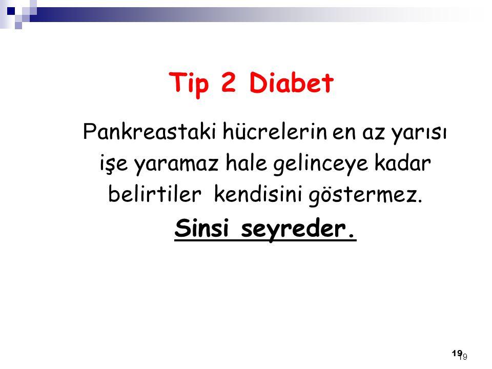 19 Tip 2 Diabet P ankreastaki hücrelerin en az yarısı işe yaramaz hale gelinceye kadar belirtiler kendisini göstermez. Sinsi seyreder. 19