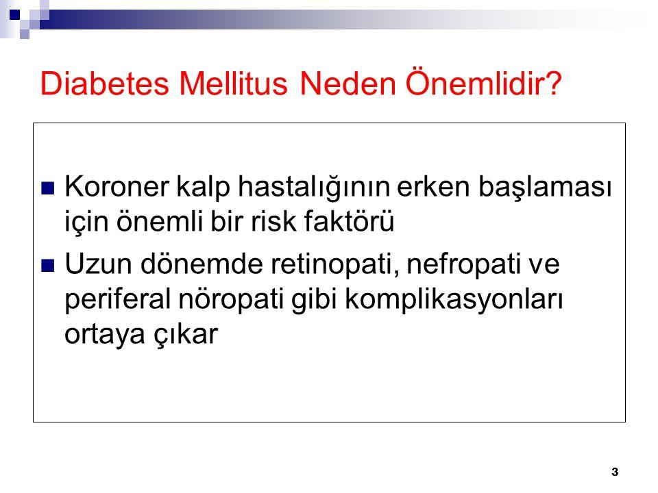 3 Diabetes Mellitus Neden Önemlidir? Koroner kalp hastalığının erken başlaması için önemli bir risk faktörü Uzun dönemde retinopati, nefropati ve peri