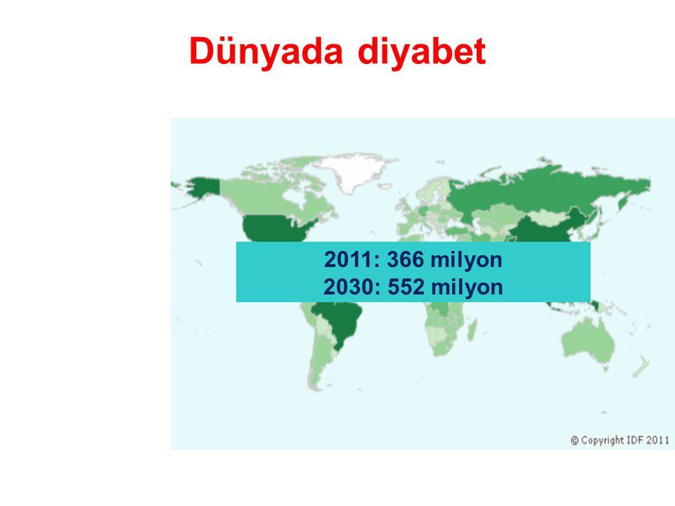Dünyada diyabet %80 düşük ve orta gelirli ülkelerde yaşıyor 183 milyon diyabetik hasta (%50) tanı almamış durumda 2011'de diyabete bağlı 4.6 milyon ölüm 2011 diyabet sağlık harcamaları 465 milyar dolar (tüm harcamaların %11'i)