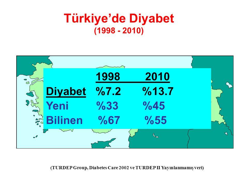 Diyabet prevalansında %90 artış Diyabet başlangıç yaşı 5 yıl daha erken Prediyabet %30.4 Vücut ağırlığı ve bel çevresinde artış - Kadınlarda 6 kg / 6 cm - Erkeklerde 8 kg / 7 cm Obezite sıklığı %32 Türkiye'de Diyabet (1998 - 2010)
