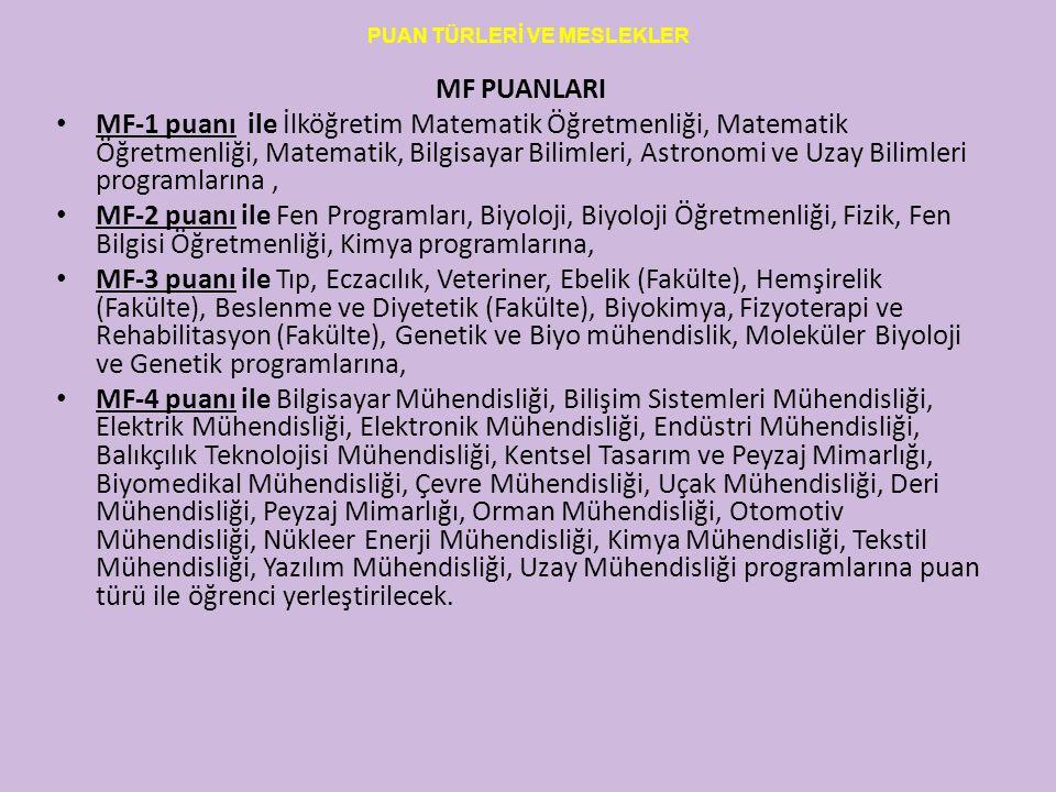 PUAN TÜRLERİ VE MESLEKLER MF PUANLARI MF-1 puanı ile İlköğretim Matematik Öğretmenliği, Matematik Öğretmenliği, Matematik, Bilgisayar Bilimleri, Astro