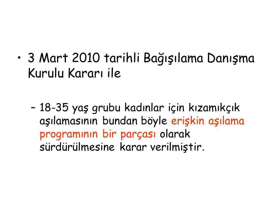 3 Mart 2010 tarihli Bağışılama Danışma Kurulu Kararı ile –18-35 yaş grubu kadınlar için kızamıkçık aşılamasının bundan böyle erişkin aşılama programın