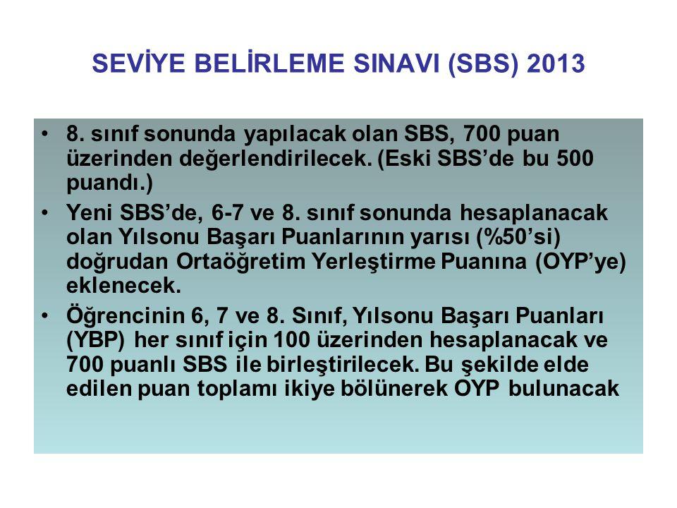 SEVİYE BELİRLEME SINAVI (SBS) 2013 8. sınıf sonunda yapılacak olan SBS, 700 puan üzerinden değerlendirilecek. (Eski SBS'de bu 500 puandı.) Yeni SBS'de