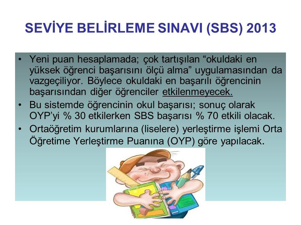"""SEVİYE BELİRLEME SINAVI (SBS) 2013 Yeni puan hesaplamada; çok tartışılan """"okuldaki en yüksek öğrenci başarısını ölçü alma"""" uygulamasından da vazgeçili"""