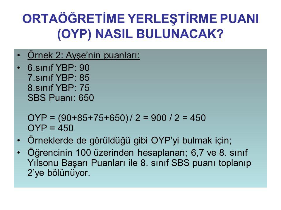 ORTAÖĞRETİME YERLEŞTİRME PUANI (OYP) NASIL BULUNACAK? Örnek 2: Ayşe'nin puanları: 6.sınıf YBP: 90 7.sınıf YBP: 85 8.sınıf YBP: 75 SBS Puanı: 650 OYP =