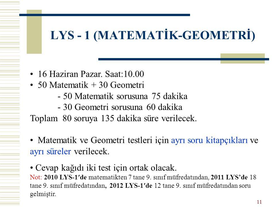 LYS - 1 (MATEMATİK-GEOMETRİ) 16 Haziran Pazar. Saat:10.00 50 Matematik + 30 Geometri - 50 Matematik sorusuna 75 dakika - 30 Geometri sorusuna 60 dakik