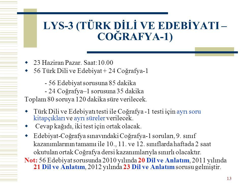 LYS-3 (TÜRK DİLİ VE EDEBİYATI – COĞRAFYA-1)  23 Haziran Pazar. Saat:10.00  56 Türk Dili ve Edebiyat + 24 Coğrafya-1 - 56 Edebiyat sorusuna 85 dakika