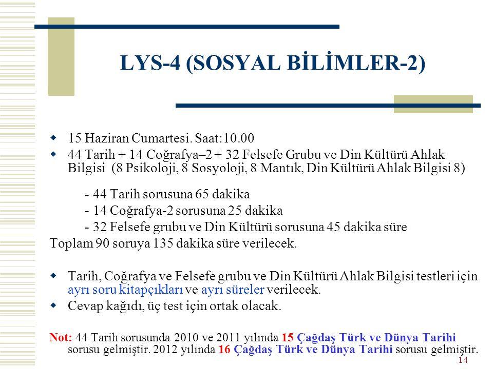 LYS-4 (SOSYAL BİLİMLER-2)  15 Haziran Cumartesi. Saat:10.00  44 Tarih + 14 Coğrafya–2 + 32 Felsefe Grubu ve Din Kültürü Ahlak Bilgisi (8 Psikoloji,