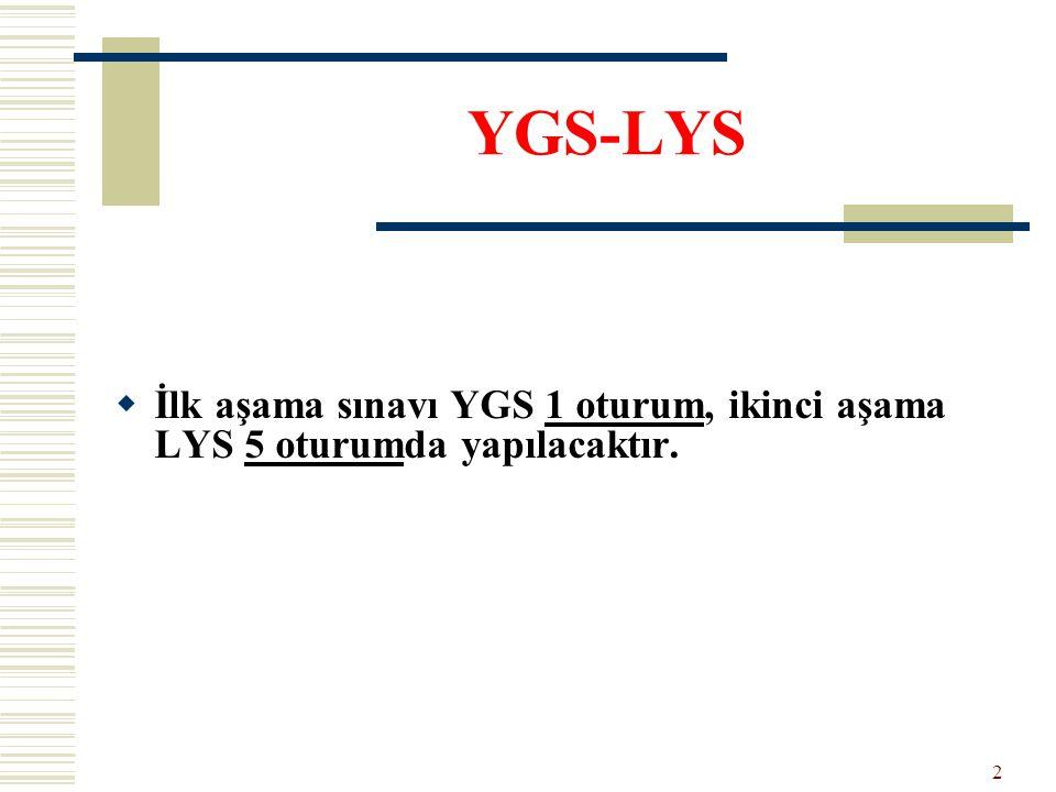  İlk aşama sınavı YGS 1 oturum, ikinci aşama LYS 5 oturumda yapılacaktır. YGS-LYS 2