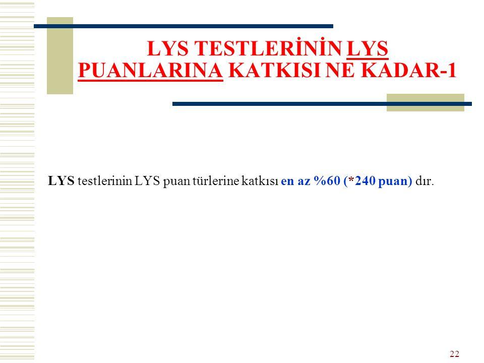 LYS TESTLERİNİN LYS PUANLARINA KATKISI NE KADAR-1 LYS testlerinin LYS puan türlerine katkısı en az %60 (*240 puan) dır. 22