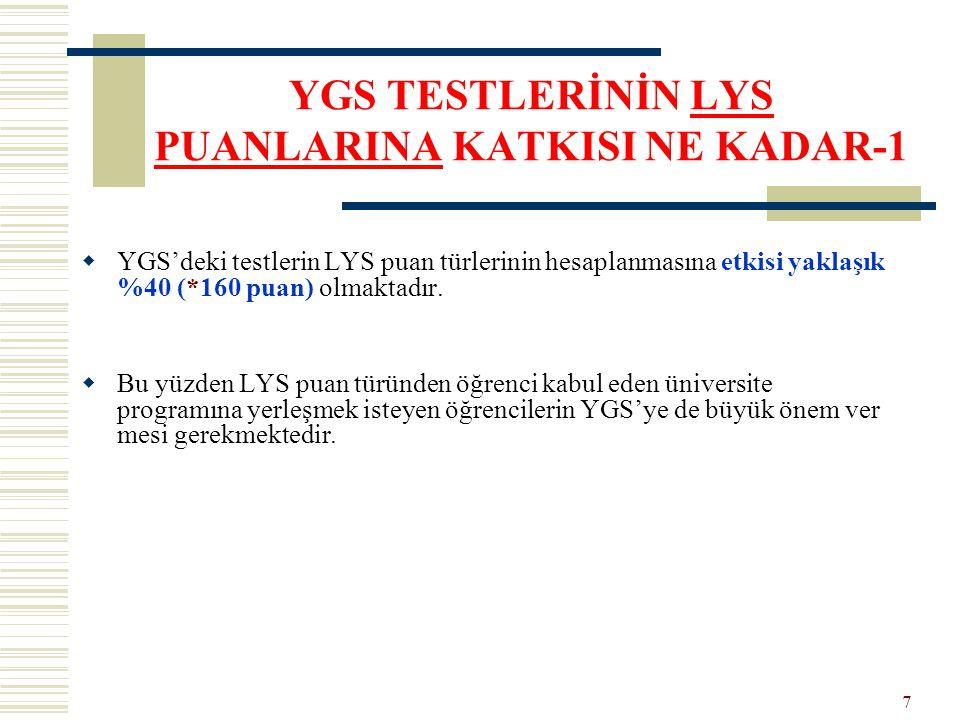 YGS TESTLERİNİN LYS PUANLARINA KATKISI NE KADAR-1  YGS'deki testlerin LYS puan türlerinin hesaplanmasına etkisi yaklaşık %40 (*160 puan) olmaktadır.