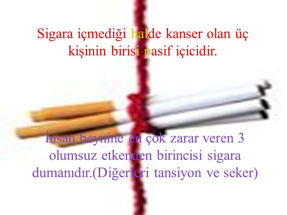Sigara içmediği halde kanser olan üç kişinin birisi pasif içicidir. İnsan beynine en çok zarar veren 3 olumsuz etkenden birincisi sigara dumanıdır.(Di