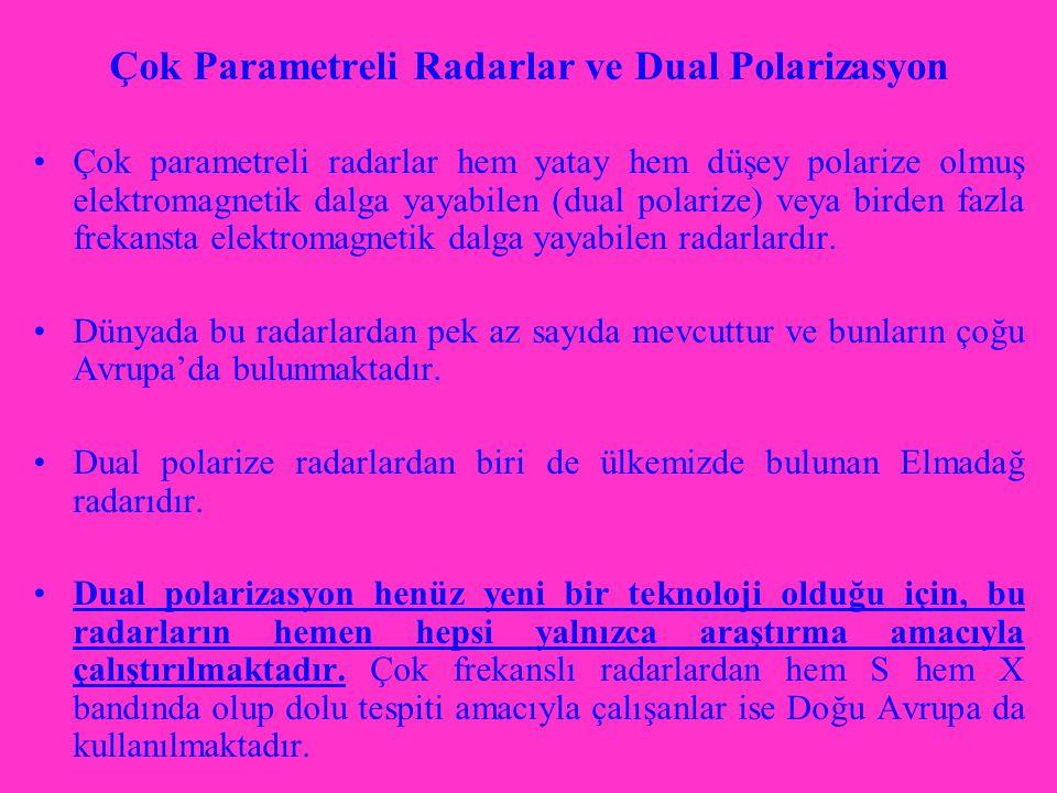 Çok Parametreli Radarlar ve Dual Polarizasyon Çok parametreli radarlar hem yatay hem düşey polarize olmuş elektromagnetik dalga yayabilen (dual polarize) veya birden fazla frekansta elektromagnetik dalga yayabilen radarlardır.