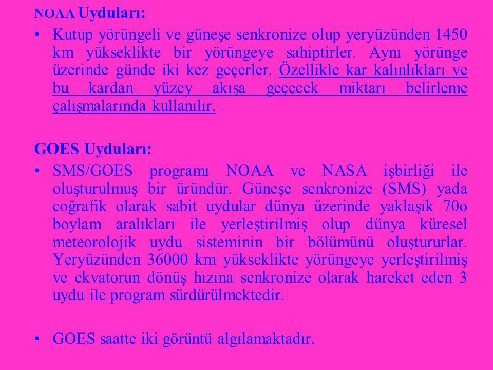 NOAA Uyduları: Kutup yörüngeli ve güneşe senkronize olup yeryüzünden 1450 km yükseklikte bir yörüngeye sahiptirler.