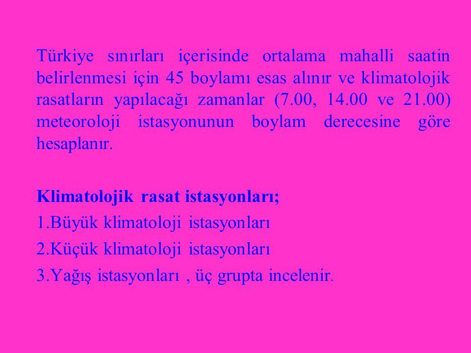 Türkiye sınırları içerisinde ortalama mahalli saatin belirlenmesi için 45 boylamı esas alınır ve klimatolojik rasatların yapılacağı zamanlar (7.00, 14.00 ve 21.00) meteoroloji istasyonunun boylam derecesine göre hesaplanır.