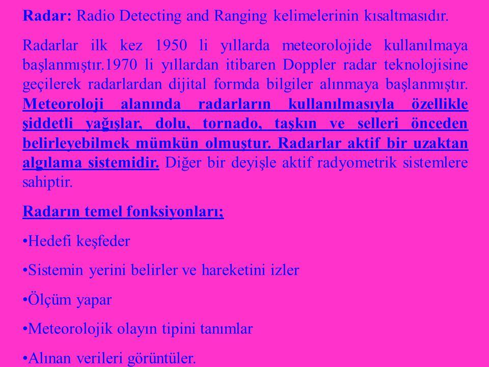 Radar: Radio Detecting and Ranging kelimelerinin kısaltmasıdır.