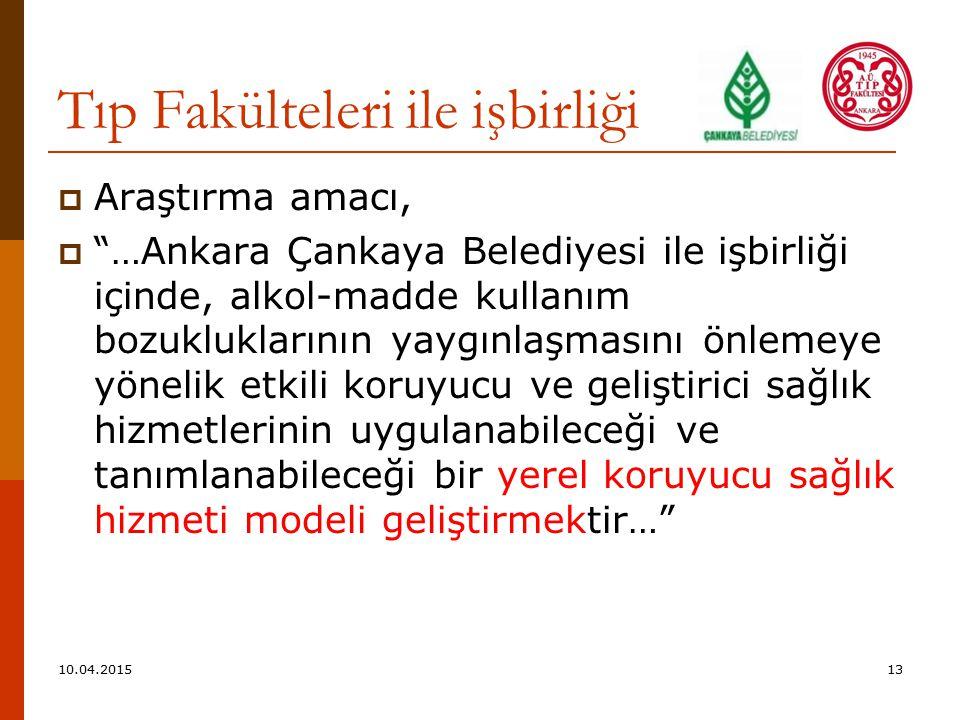 Tıp Fakülteleri ile işbirliği  Araştırma amacı,  …Ankara Çankaya Belediyesi ile işbirliği içinde, alkol-madde kullanım bozukluklarının yaygınlaşmasını önlemeye yönelik etkili koruyucu ve geliştirici sağlık hizmetlerinin uygulanabileceği ve tanımlanabileceği bir yerel koruyucu sağlık hizmeti modeli geliştirmektir… 10.04.201513