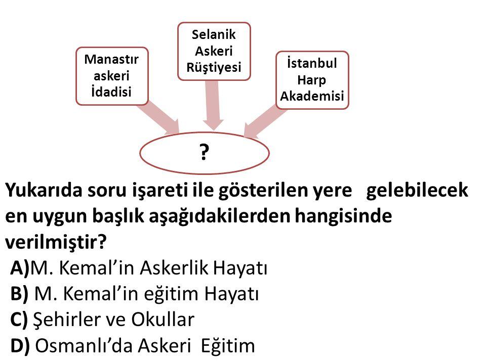 Manastır askeri İdadisi Selanik Askeri Rüştiyesi İstanbul Harp Akademisi Yukarıda soru işareti ile gösterilen yere gelebilecek en uygun başlık aşağıdakilerden hangisinde verilmiştir.