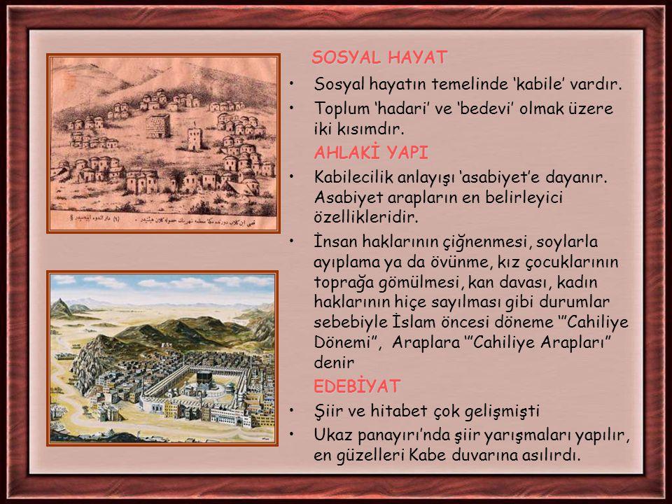 İSLAM ÖNCESİ ARAP YARIMADASI SİYASİ DURUM: ' Kabilecilik' düzeni doğrultusunda şehir devlet yönetimi ve feodal düzen hakimdi.