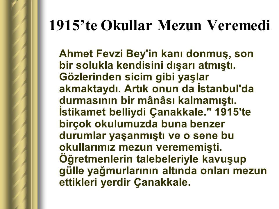 1915'te Okullar Mezun Veremedi Ahmet Fevzi Bey'in kanı donmuş, son bir solukla kendisini dışarı atmıştı. Gözlerinden sicim gibi yaşlar akmaktaydı. Art