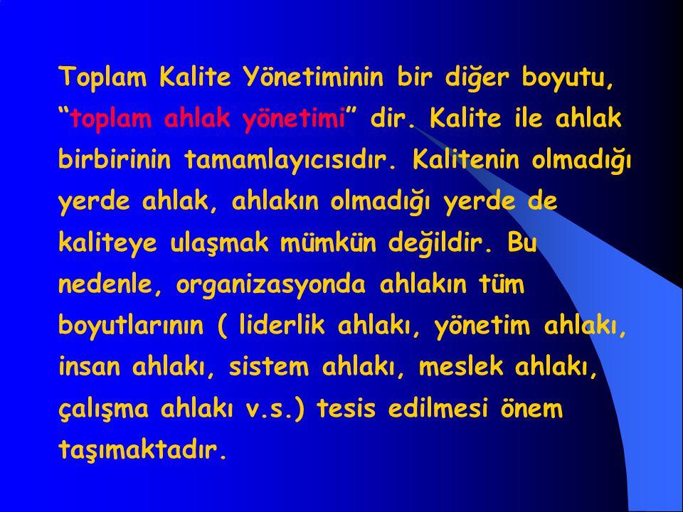 Toplam Kalite Yönetiminin bir diğer boyutu, toplam ahlak yönetimi dir.