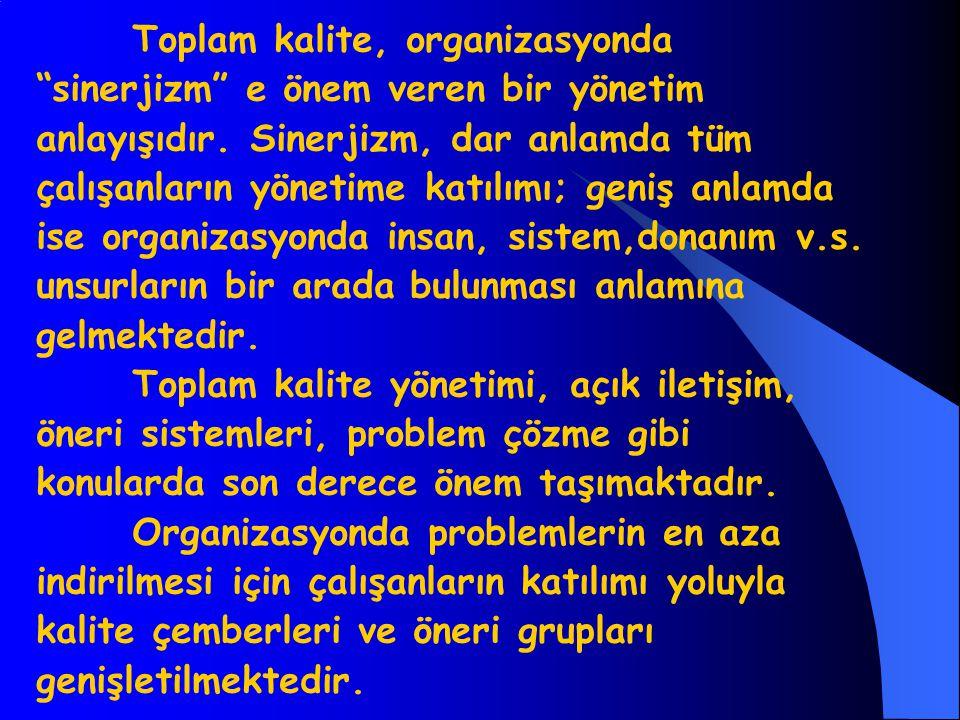 Toplam kalite, organizasyonda sinerjizm e önem veren bir yönetim anlayışıdır.