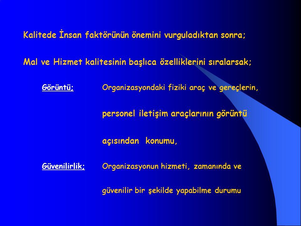 Kalitede İnsan faktörünün önemini vurguladıktan sonra; Mal ve Hizmet kalitesinin başlıca özelliklerini sıralarsak; Görüntü;Organizasyondaki fiziki ara