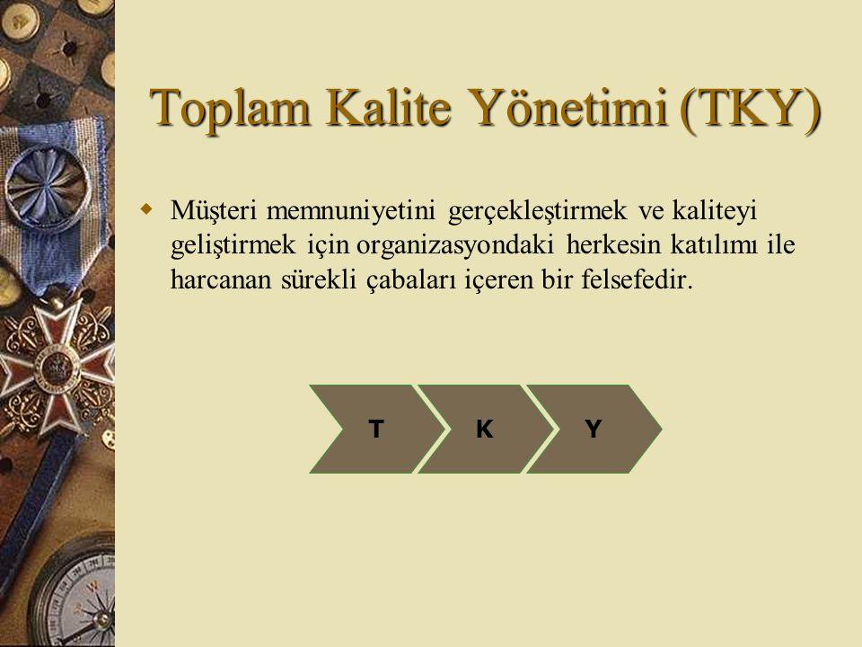 Toplam Kalite Yönetimi (TKY)  Müşteri memnuniyetini gerçekleştirmek ve kaliteyi geliştirmek için organizasyondaki herkesin katılımı ile harcanan süre