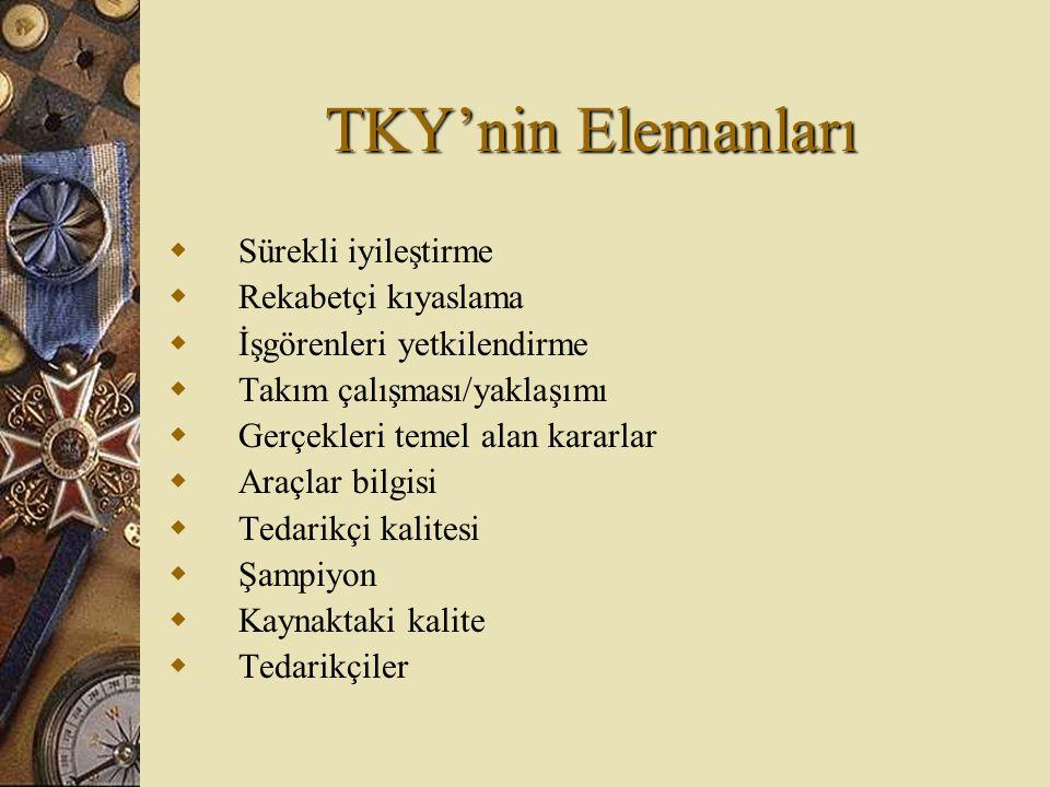 TKY'nin Elemanları  Sürekli iyileştirme  Rekabetçi kıyaslama  İşgörenleri yetkilendirme  Takım çalışması/yaklaşımı  Gerçekleri temel alan kararla