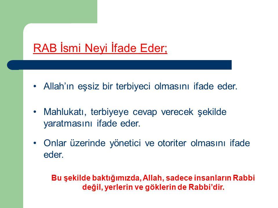RAB İsmi Neyi İfade Eder; Allah'ın eşsiz bir terbiyeci olmasını ifade eder.