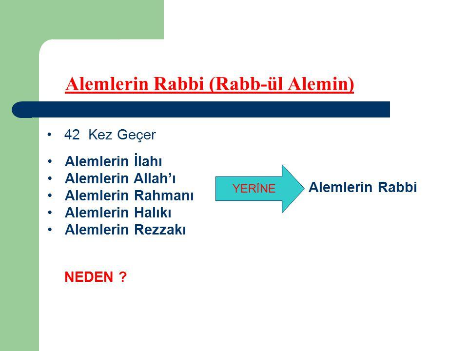 Alemlerin Rabbi (Rabb-ül Alemin) 42 Kez Geçer Alemlerin İlahı Alemlerin Allah'ı Alemlerin Rahmanı Alemlerin Halıkı Alemlerin Rezzakı NEDEN .