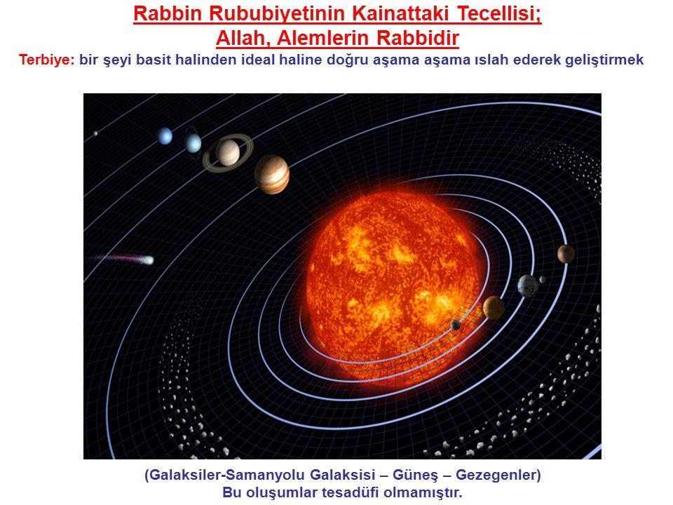 (Galaksiler-Samanyolu Galaksisi – Güneş – Gezegenler) Bu oluşumlar tesadüfi olmamıştır.