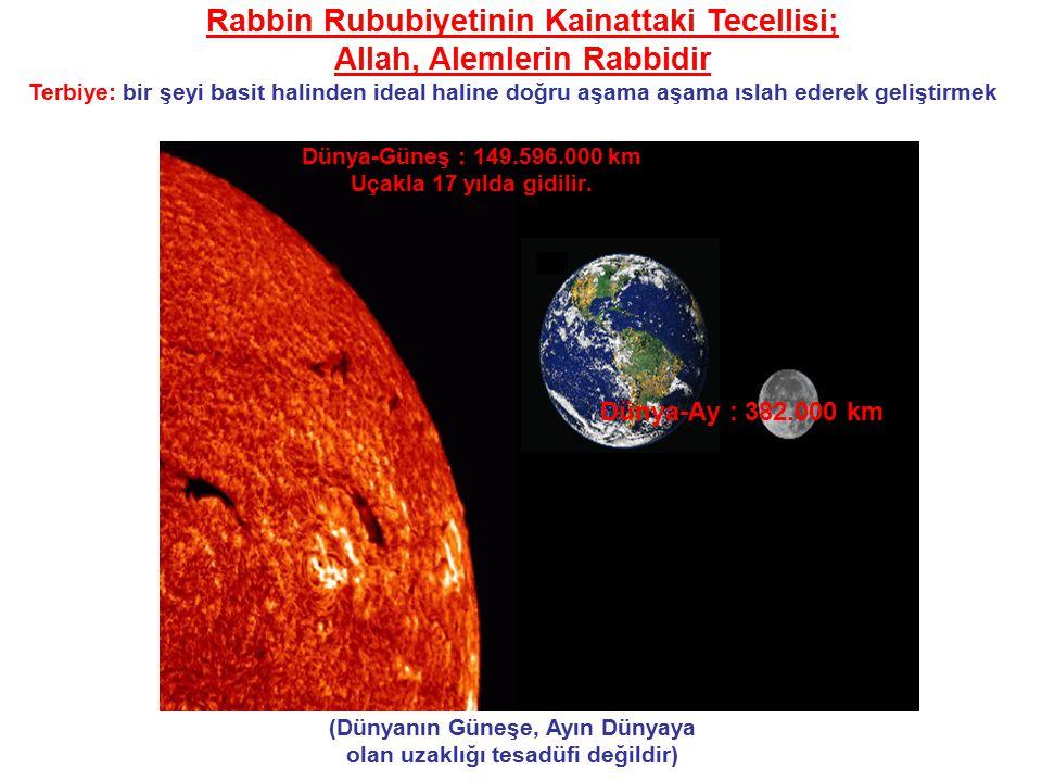 (Dünyanın Güneşe, Ayın Dünyaya olan uzaklığı tesadüfi değildir) Dünya-Güneş : 149.596.000 km Uçakla 17 yılda gidilir.