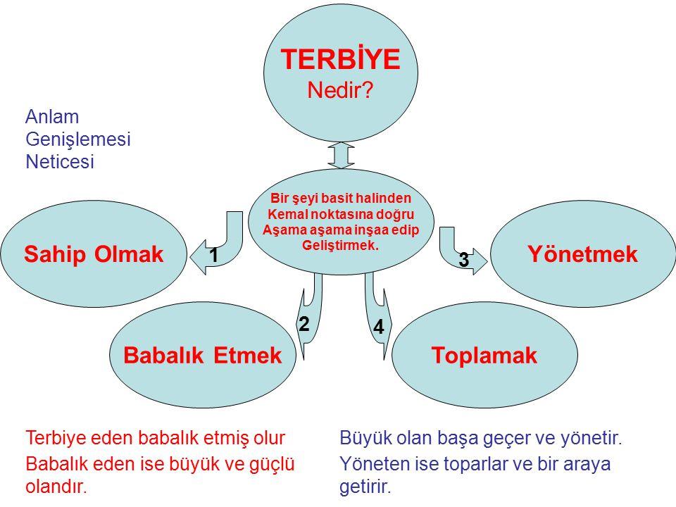 Terbiye 'ye örnekler; Müdür; Çırak, Kalfa, Usta, Şef, Müdür.
