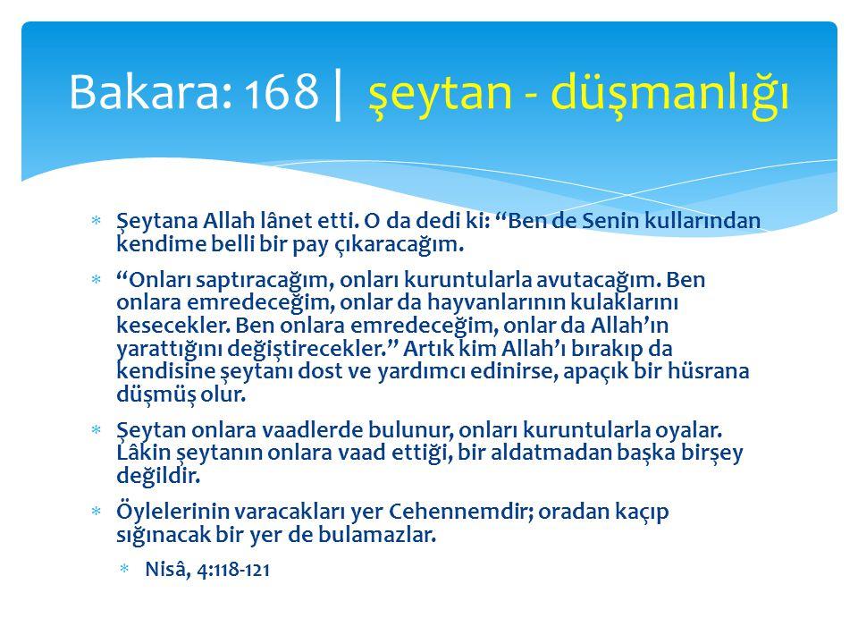 """ Şeytana Allah lânet etti. O da dedi ki: """"Ben de Senin kullarından kendime belli bir pay çıkaracağım.  """"Onları saptıracağım, onları kuruntularla avu"""