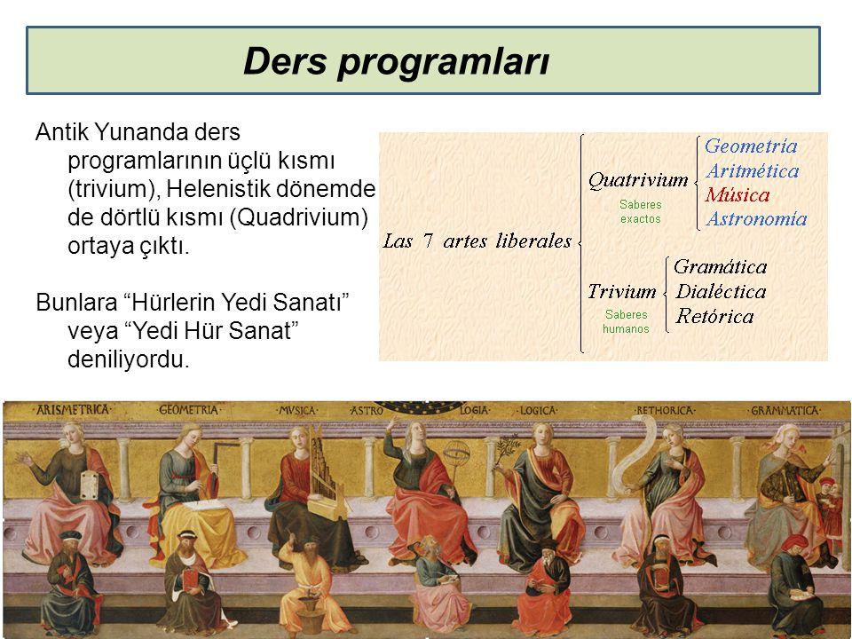 """Ders programları Antik Yunanda ders programlarının üçlü kısmı (trivium), Helenistik dönemde de dörtlü kısmı (Quadrivium) ortaya çıktı. Bunlara """"Hürler"""