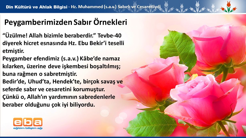 4 - Hz.Muhammed (s.a.v.) Sabırlı ve Cesaretliydi Üzülme.
