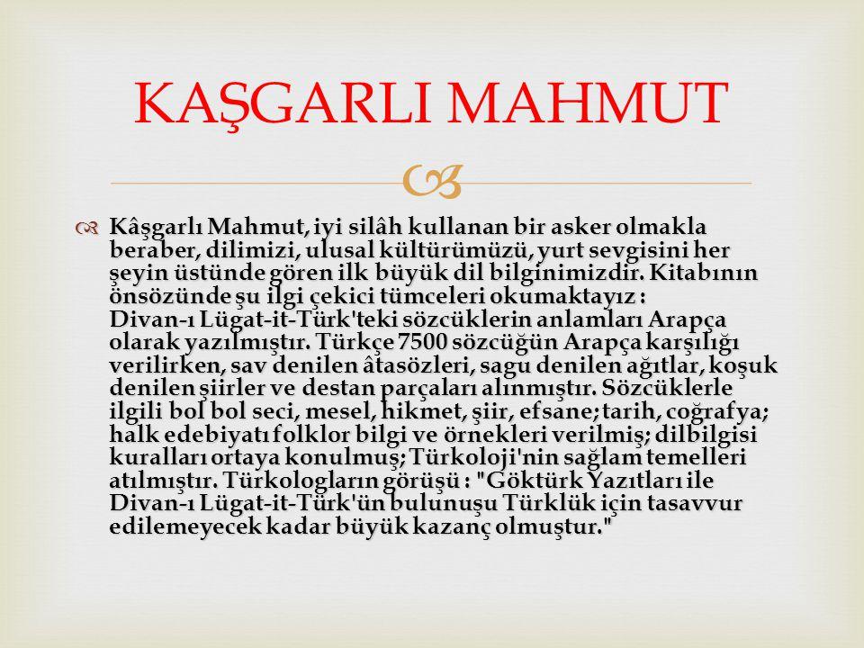   Kâşgarlı Mahmut, iyi silâh kullanan bir asker olmakla beraber, dilimizi, ulusal kültürümüzü, yurt sevgisini her şeyin üstünde gören ilk büyük dil bilginimizdir.