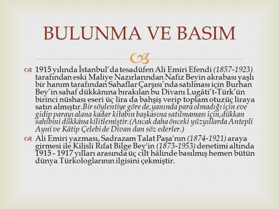  1915 yılında İstanbul'da tesadüfen Ali Emiri Efendi (1857-1923) tarafından eski Maliye Nazırlarından Nafiz Beyin akrabası yaşlı bir hanım tarafından Sahaflar Çarşısı'nda satılması için Burhan Bey'in sahaf dükkânına bırakılan bu Divanı Lugâti't-Türk'ün birinci nüshası eseri üç lira da bahşiş verip toplam otuzüç liraya satın almıştır.