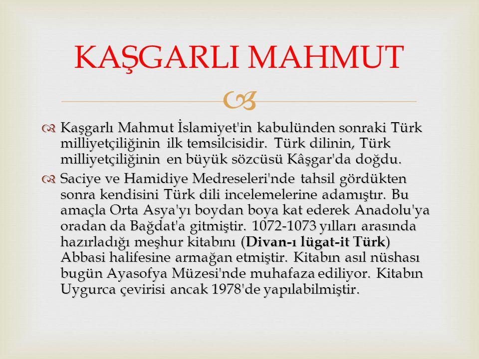   Kaşgarlı Mahmut İslamiyet'in kabulünden sonraki Türk milliyetçiliğinin ilk temsilcisidir. Türk dilinin, Türk milliyetçiliğinin en büyük sözcüsü Kâ
