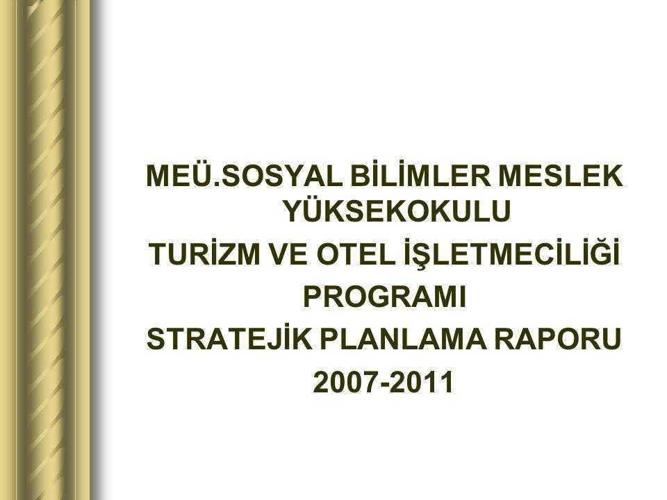 MEÜ.SOSYAL BİLİMLER MESLEK YÜKSEKOKULU TURİZM VE OTEL İŞLETMECİLİĞİ PROGRAMI STRATEJİK PLANLAMA RAPORU 2007-2011