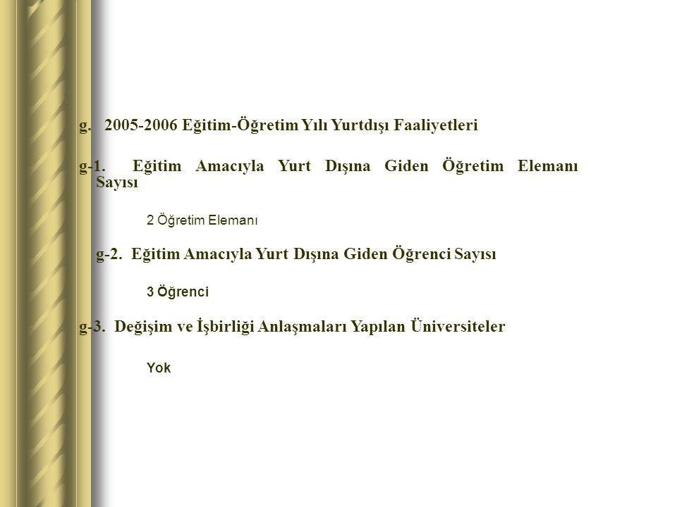 g. 2005-2006 Eğitim-Öğretim Yılı Yurtdışı Faaliyetleri g-1.