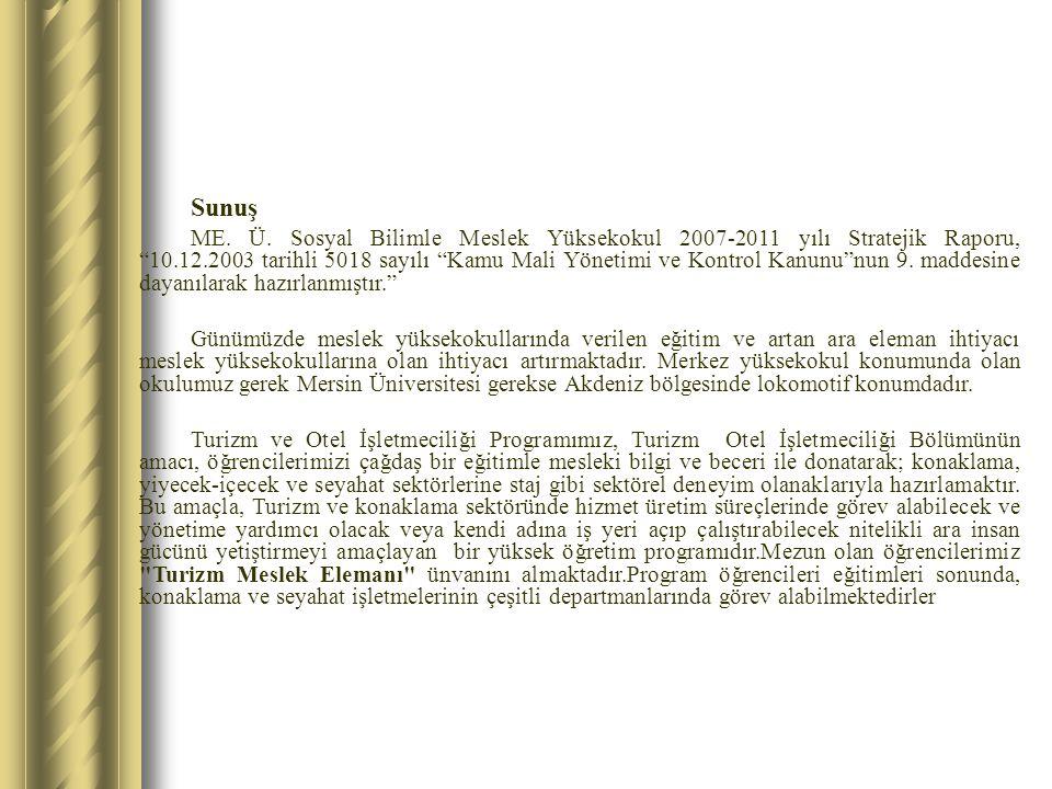 """Sunuş ME. Ü. Sosyal Bilimle Meslek Yüksekokul 2007-2011 yılı Stratejik Raporu, """"10.12.2003 tarihli 5018 sayılı """"Kamu Mali Yönetimi ve Kontrol Kanunu""""n"""