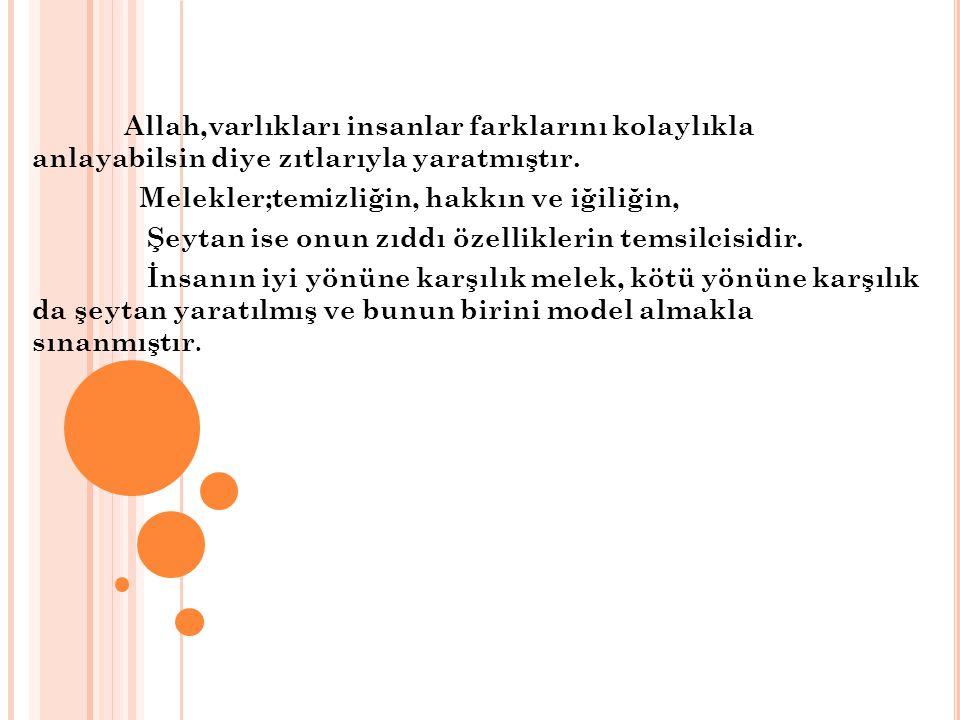 Allah,varlıkları insanlar farklarını kolaylıkla anlayabilsin diye zıtlarıyla yaratmıştır.
