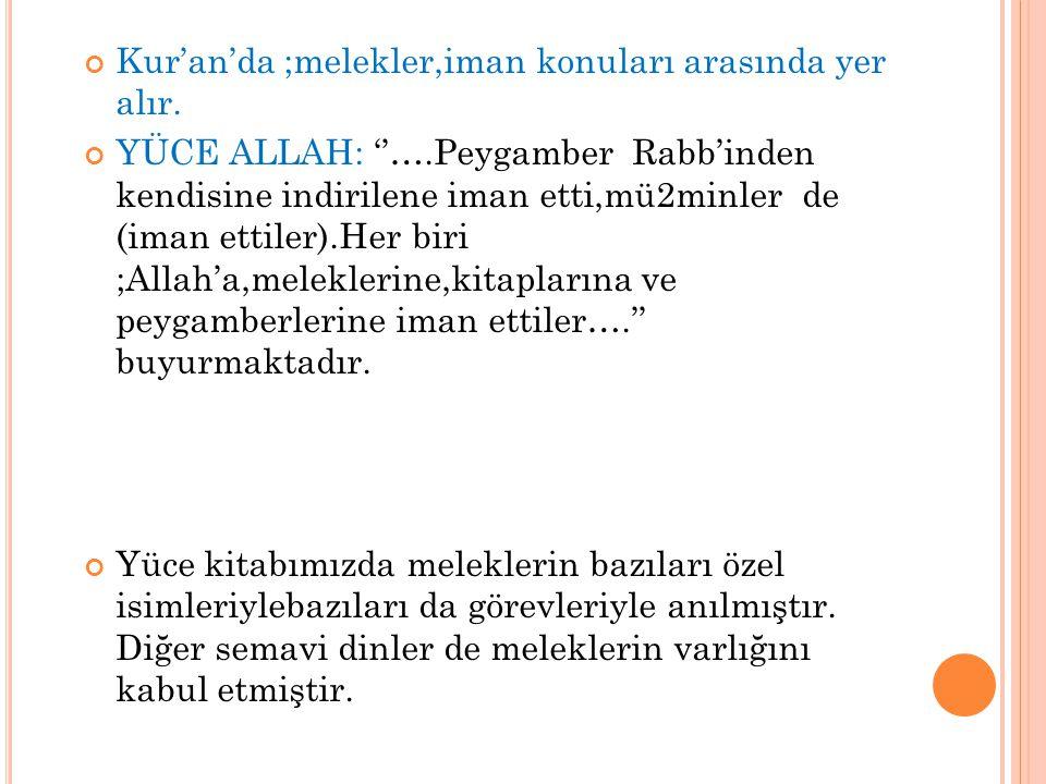 Kur'an'da ;melekler,iman konuları arasında yer alır.