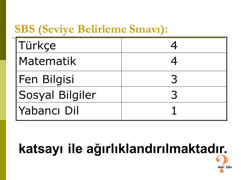 SBS (Seviye Belirleme Sınavı): Türkçe4 Matematik4 Fen Bilgisi3 Sosyal Bilgiler3 Yabancı Dil1 katsayı ile ağırlıklandırılmaktadır.