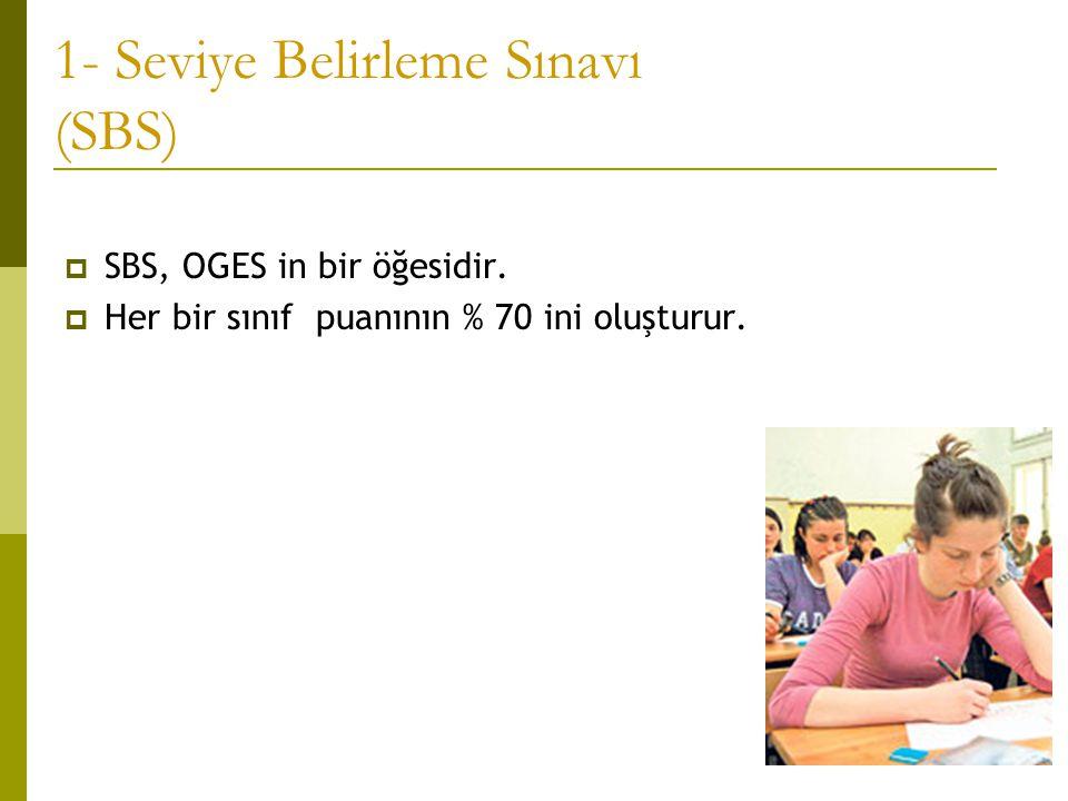 1- Seviye Belirleme Sınavı (SBS)  SBS, OGES in bir öğesidir.