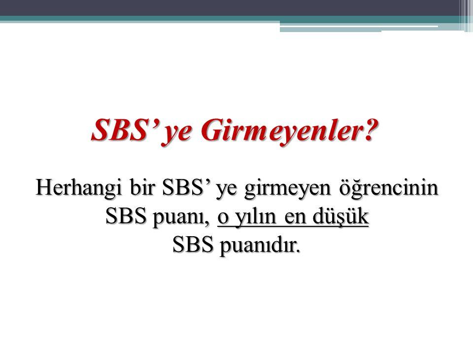 SBS' ye Girmeyenler? Herhangi bir SBS' ye girmeyen öğrencinin SBS puanı, o yılın en düşük SBS puanıdır.
