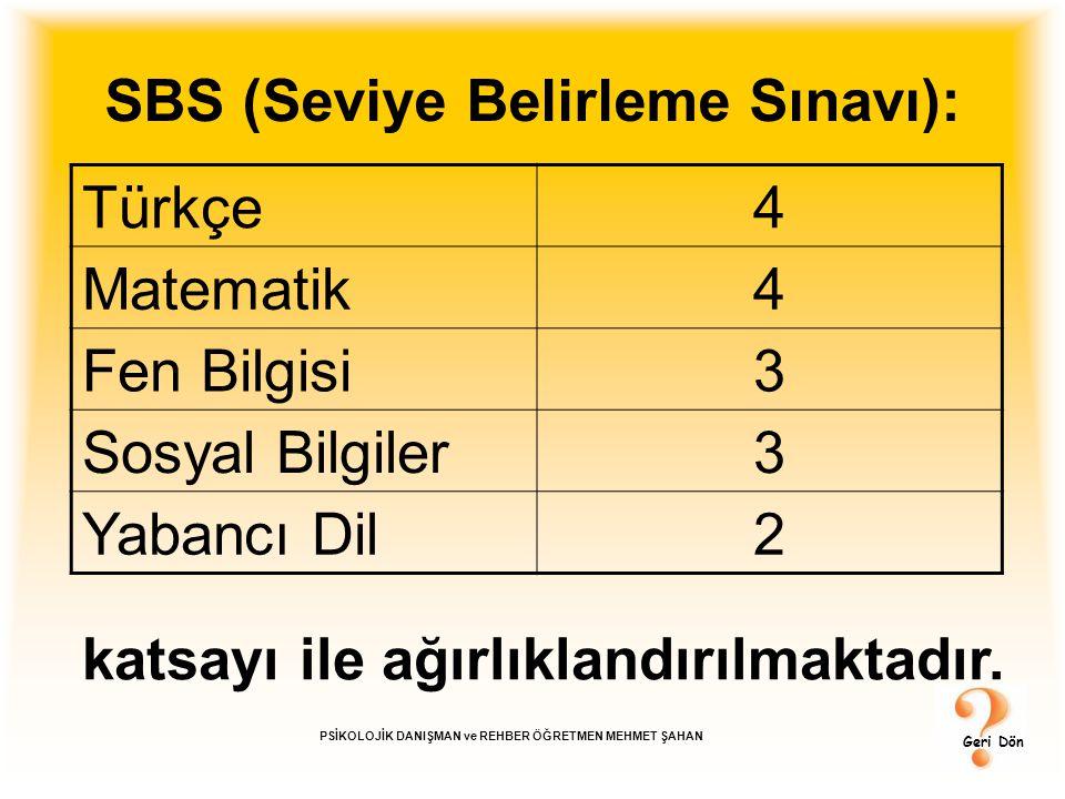 SBS (Seviye Belirleme Sınavı): Türkçe4 Matematik4 Fen Bilgisi3 Sosyal Bilgiler3 Yabancı Dil2 katsayı ile ağırlıklandırılmaktadır. Geri Dön PSİKOLOJİK